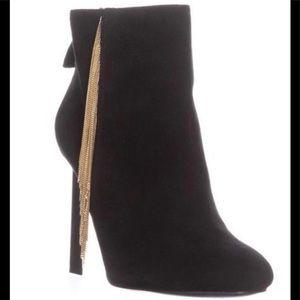 Nine West Ankle Boots, Black Suede w/ Gold tassel